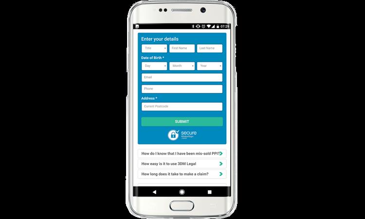 3DM Application Form on mobile