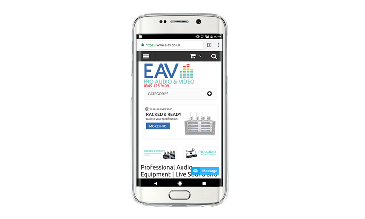 EAV Website on mobile